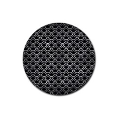 Scales2 Black Marble & Gray Metal 2 Rubber Round Coaster (4 Pack)  by trendistuff