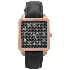 Scales2 Black Marble & Gray Metal 2 Rose Gold Leather Watch  by trendistuff