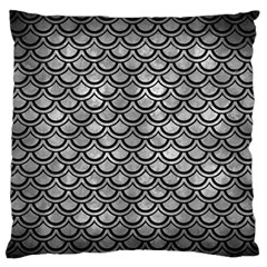 Scales2 Black Marble & Gray Metal 2 (r) Large Flano Cushion Case (one Side) by trendistuff