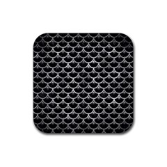Scales3 Black Marble & Gray Metal 2 Rubber Square Coaster (4 Pack)
