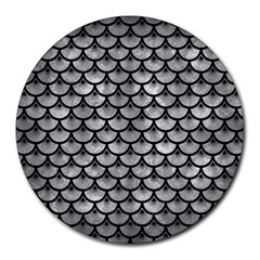 Scales3 Black Marble & Gray Metal 2 (r) Round Mousepads by trendistuff