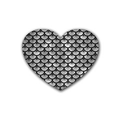 Scales3 Black Marble & Gray Metal 2 (r) Rubber Coaster (heart)  by trendistuff