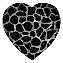 Skin1 Black Marble & Gray Metal 2 (r) Jigsaw Puzzle (heart) by trendistuff