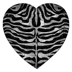 Skin2 Black Marble & Gray Metal 2 Jigsaw Puzzle (heart) by trendistuff