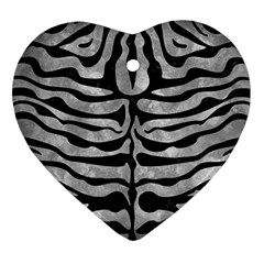 Skin2 Black Marble & Gray Metal 2 (r) Heart Ornament (two Sides) by trendistuff