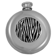 Skin4 Black Marble & Gray Metal 2 (r) Round Hip Flask (5 Oz) by trendistuff