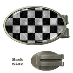 Square1 Black Marble & Gray Metal 2 Money Clips (oval)  by trendistuff