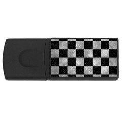 Square1 Black Marble & Gray Metal 2 Rectangular Usb Flash Drive by trendistuff