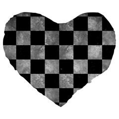 Square1 Black Marble & Gray Metal 2 Large 19  Premium Flano Heart Shape Cushions by trendistuff