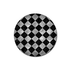 Square2 Black Marble & Gray Metal 2 Magnet 3  (round) by trendistuff
