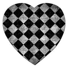 Square2 Black Marble & Gray Metal 2 Jigsaw Puzzle (heart) by trendistuff
