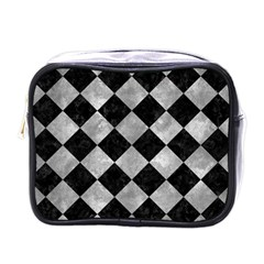 Square2 Black Marble & Gray Metal 2 Mini Toiletries Bags by trendistuff
