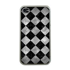 Square2 Black Marble & Gray Metal 2 Apple Iphone 4 Case (clear) by trendistuff