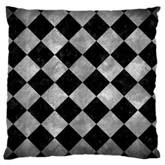Square2 Black Marble & Gray Metal 2 Large Cushion Case (one Side) by trendistuff
