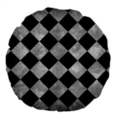 Square2 Black Marble & Gray Metal 2 Large 18  Premium Round Cushions