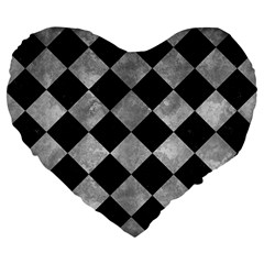 Square2 Black Marble & Gray Metal 2 Large 19  Premium Flano Heart Shape Cushions by trendistuff