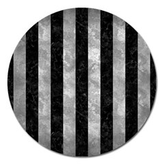 Stripes1 Black Marble & Gray Metal 2 Magnet 5  (round) by trendistuff