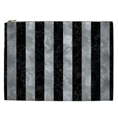 Stripes1 Black Marble & Gray Metal 2 Cosmetic Bag (xxl)