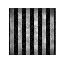 Stripes1 Black Marble & Gray Metal 2 Small Satin Scarf (square) by trendistuff
