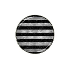 Stripes2 Black Marble & Gray Metal 2 Hat Clip Ball Marker by trendistuff