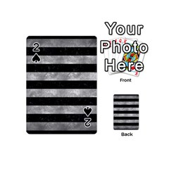 Stripes2 Black Marble & Gray Metal 2 Playing Cards 54 (mini)  by trendistuff