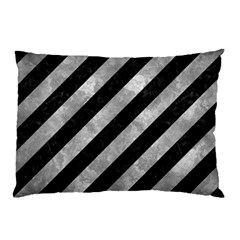 Stripes3 Black Marble & Gray Metal 2 Pillow Case by trendistuff