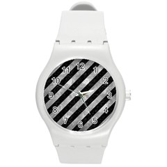 Stripes3 Black Marble & Gray Metal 2 Round Plastic Sport Watch (m) by trendistuff