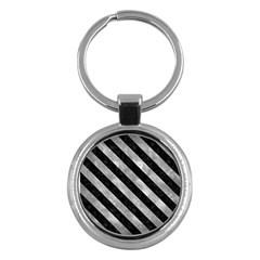 Stripes3 Black Marble & Gray Metal 2 (r) Key Chains (round)  by trendistuff