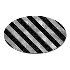 Stripes3 Black Marble & Gray Metal 2 (r) Oval Magnet by trendistuff