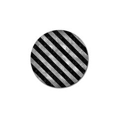 Stripes3 Black Marble & Gray Metal 2 (r) Golf Ball Marker by trendistuff