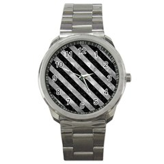 Stripes3 Black Marble & Gray Metal 2 (r) Sport Metal Watch by trendistuff
