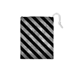 Stripes3 Black Marble & Gray Metal 2 (r) Drawstring Pouches (small)  by trendistuff