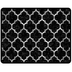 Tile1 Black Marble & Gray Metal 2 Fleece Blanket (medium)  by trendistuff