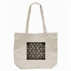 Tile1 Black Marble & Gray Metal 2 (r) Tote Bag (cream) by trendistuff