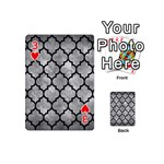 TILE1 BLACK MARBLE & GRAY METAL 2 (R) Playing Cards 54 (Mini)  Front - Heart3