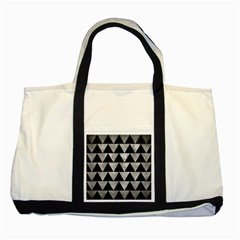 Triangle2 Black Marble & Gray Metal 2 Two Tone Tote Bag by trendistuff