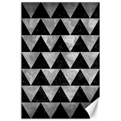 Triangle2 Black Marble & Gray Metal 2 Canvas 24  X 36  by trendistuff