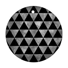 Triangle3 Black Marble & Gray Metal 2 Ornament (round) by trendistuff