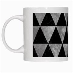 Triangle3 Black Marble & Gray Metal 2 White Mugs by trendistuff