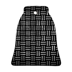 Woven1 Black Marble & Gray Metal 2 Bell Ornament (two Sides) by trendistuff
