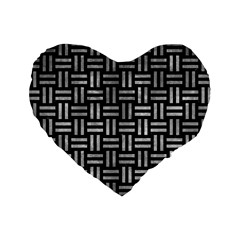 Woven1 Black Marble & Gray Metal 2 Standard 16  Premium Heart Shape Cushions by trendistuff