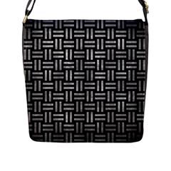 Woven1 Black Marble & Gray Metal 2 Flap Messenger Bag (l)  by trendistuff