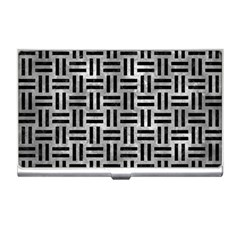 Woven1 Black Marble & Gray Metal 2 (r) Business Card Holders by trendistuff