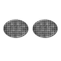 Woven1 Black Marble & Gray Metal 2 (r) Cufflinks (oval) by trendistuff