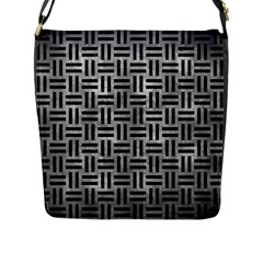 Woven1 Black Marble & Gray Metal 2 (r) Flap Messenger Bag (l)  by trendistuff