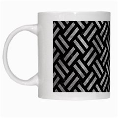 Woven2 Black Marble & Gray Metal 2 White Mugs by trendistuff
