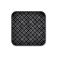 Woven2 Black Marble & Gray Metal 2 Rubber Square Coaster (4 Pack)  by trendistuff