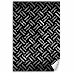 Woven2 Black Marble & Gray Metal 2 Canvas 24  X 36  by trendistuff