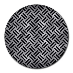 Woven2 Black Marble & Gray Metal 2 (r) Round Mousepads by trendistuff