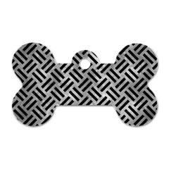 Woven2 Black Marble & Gray Metal 2 (r) Dog Tag Bone (two Sides) by trendistuff
